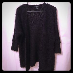 Forever 21 Fuzzy Black Cardi Sweater Size Medium